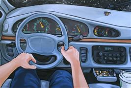 pop culture art,vroom vroom! art,acrylic painting,Car with Moth (Night Drive)