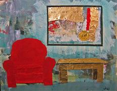 Architecture art,Still Life art,mixed media artwork,Red Chair