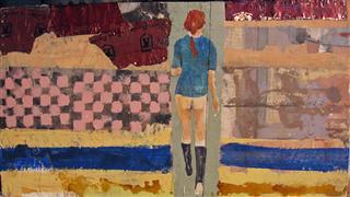 People art,Surrealism art,mixed media artwork,Blue Shirt