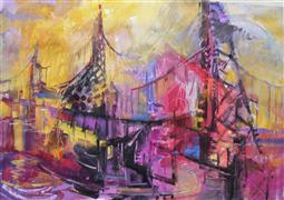 buildings art,expressionism art,acrylic painting,Summer Day Bridges