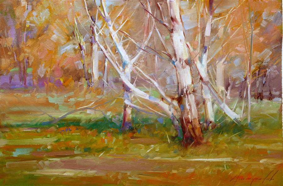 Original art for sale at UGallery.com | Autumn Woods by VAHE YEREMYAN | $475 | Oil painting | 16' h x 24' w | ..\art\oil-painting-Autumn-Woods