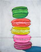 pop culture art,still life art,acrylic painting,Macaron Stack