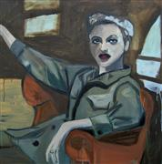 Impressionism art,People art,oil painting,The Artist in Her Studio, Circa 1939