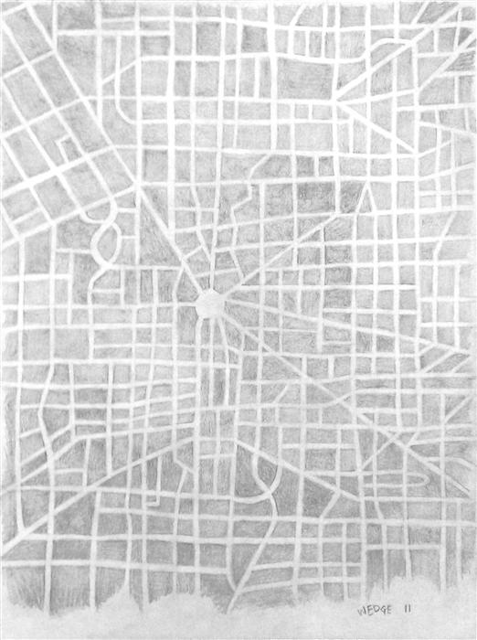 Original art for sale at UGallery.com | Imaginary City Map 5 by MICHAEL WEDGE | $275 |  | 12' h x 9' w | ..\art\pencil-drawing-Imaginary-City-Map-5