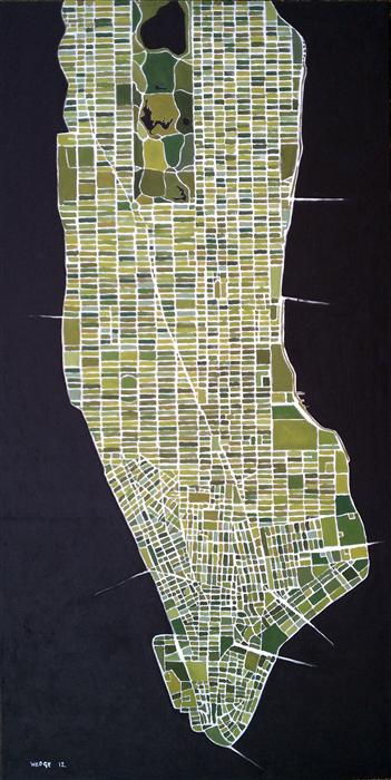 Original art for sale at UGallery.com | Green New York by MICHAEL WEDGE | $4,750 |  | 73.5' h x 37' w | ..\art\oil-painting-Green-New-York