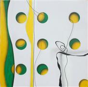 Abstract art,acrylic painting,Layered Circles #2