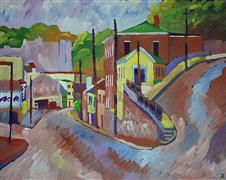 buildings art,landscape art,acrylic painting,In Howard County