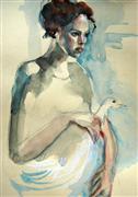 Animals art,People art,watercolor painting,La Ferme