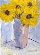 still life art,botanical art,oil painting,Sunflower Harmony