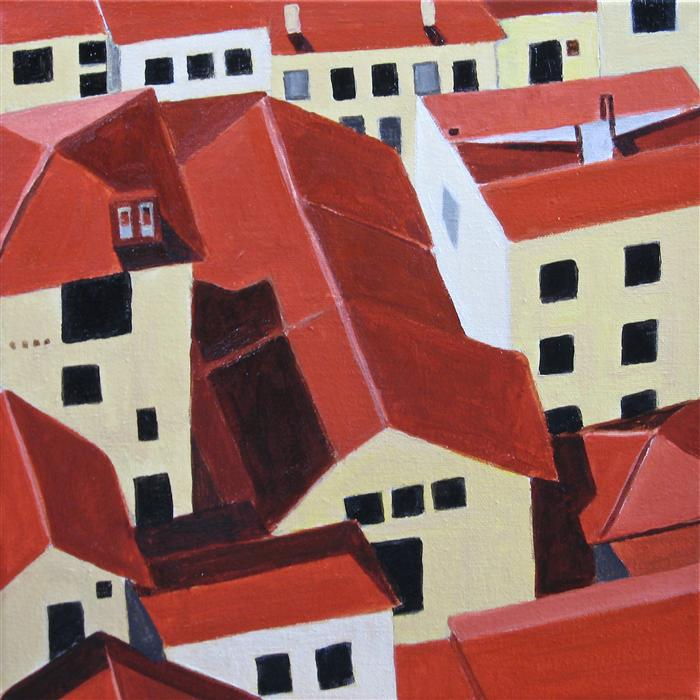 Original art for sale at UGallery.com | Florence Rooftops by TONI SILBER-DELERIVE | $875 | Acrylic painting | 12' h x 12' w | ..\art\acrylic-painting-Florence-Rooftops