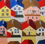 Architecture art,City art,acrylic painting,Bergen, Norway