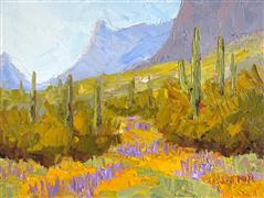 Impressionism art,Landscape art,Western art,oil painting,Picacho Peak in Bloom