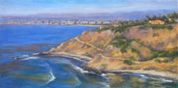 landscape art,seascape art,oil painting,Palos Verdes Cove