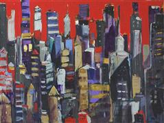 buildings art,city art,acrylic painting,I'll Have a Manhattan