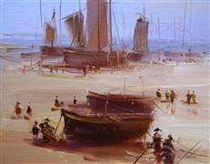 Impressionism art,Seascape art,oil painting,On the Shore