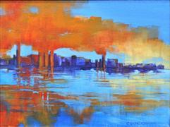 impressionism art,seascape art,acrylic painting,City Sky
