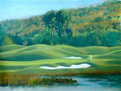 landscape art,sports art,pastel artwork,Okema Valley Golf Club, Hole #17