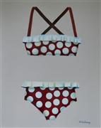 Pop art,Still Life art,oil painting,Vintage Polka-Dot Bathing Suit