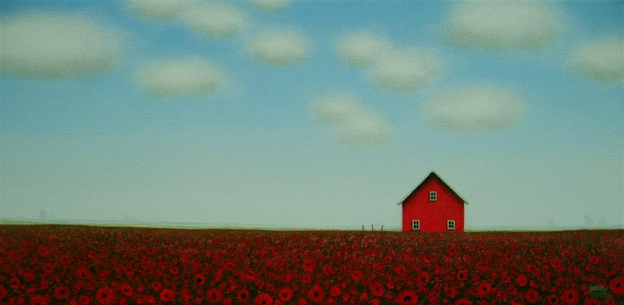 Original art for sale at UGallery.com | Poppies by the Red Barn by SHARON  FRANCE | $450 |  | 8' h x 16' w | ..\art\acrylic-painting-Poppies-by-the-Red-Barn