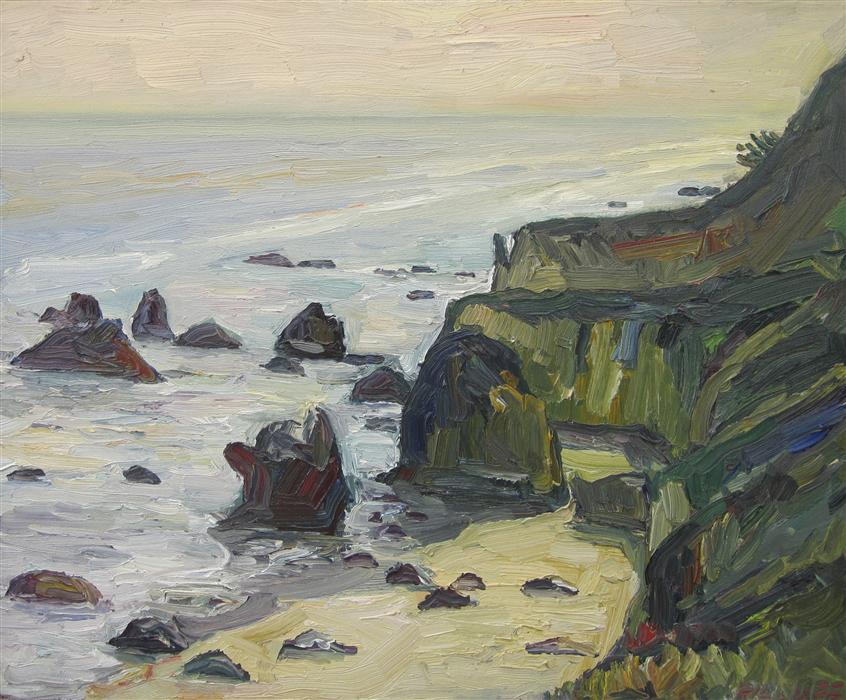 Original art for sale at UGallery.com | Matador Beach by JOHN KILDUFF | $950 | Oil painting | 20' h x 24' w | ..\art\oil-painting-Matador-Beach
