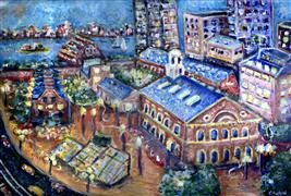 city art,travel art,acrylic painting,Faneuil Hall