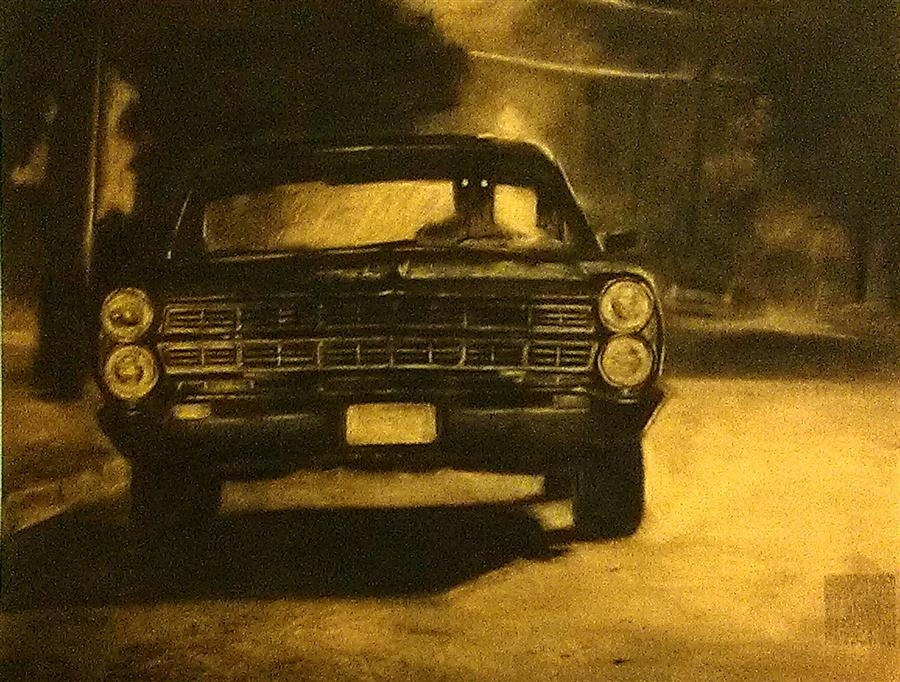 Original art for sale at UGallery.com | Joyride by DREW MCSHERRY | $675 | Charcoal drawing | 19' h x 25' w | ..\art\charcoal-drawing-Joyride