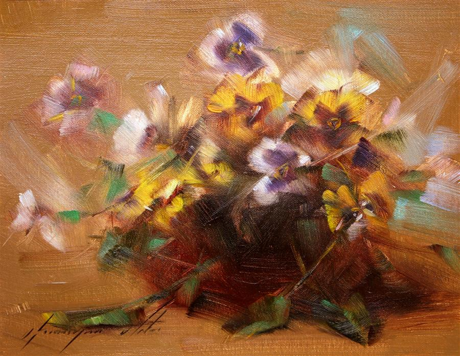 Original art for sale at UGallery.com | Vase of Violas by VAHE YEREMYAN | $375 |  | 9' h x 12' w | ..\art\oil-painting-Vase-of-Violas