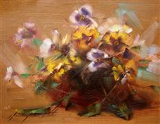 Still Life art,Flora art,oil painting,Vase of Violas