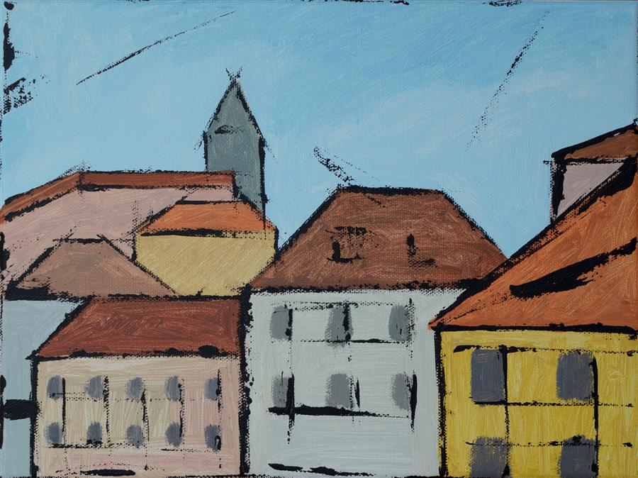 Original art for sale at UGallery.com | Prague by TANYA GRABKOVA | $250 | Acrylic painting | 9' h x 12' w | ..\art\acrylic-painting-Prague
