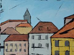 buildings art,city art,acrylic painting,Prague