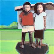 People art,Surrealism art,acrylic painting,Two Figures