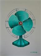Pop art,Still Life art,oil painting,Vintage Emerald Fan