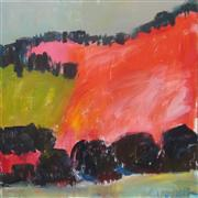 abstract art,landscape art,acrylic painting,Pink and Orange Fields