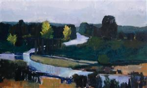 Landscape art,Nature art,acrylic painting,Winding River, Netherlands