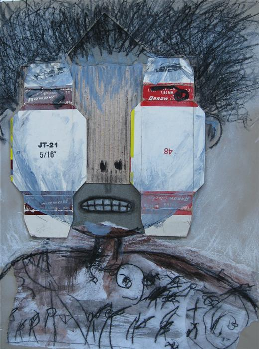 Original art for sale at UGallery.com | Box Eyes by LIBBY RAMAGE | $525 |  | 12' h x 9' w | ..\art\mixed-media-artwork-Box-Eyes