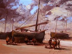 Impressionism art,Seascape art,oil painting,Sailboats