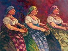 people art,oil painting,3 Italian Sisters