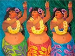 People art,Pop art,oil painting,Hula Girls