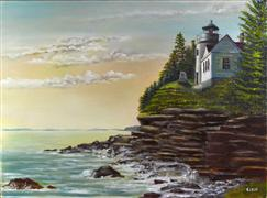 seascape art,travel art,oil painting,Bass Harbor Lighthouse