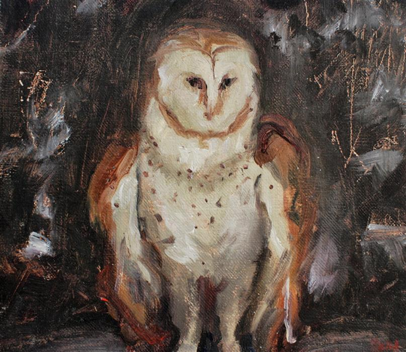 Original art for sale at UGallery.com | Owl by SARA SISUN | $300 | Oil painting | 7' h x 8' w | ..\art\oil-painting-Owl