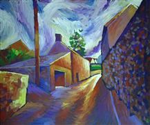buildings art,landscape art,acrylic painting,Light and Shadow