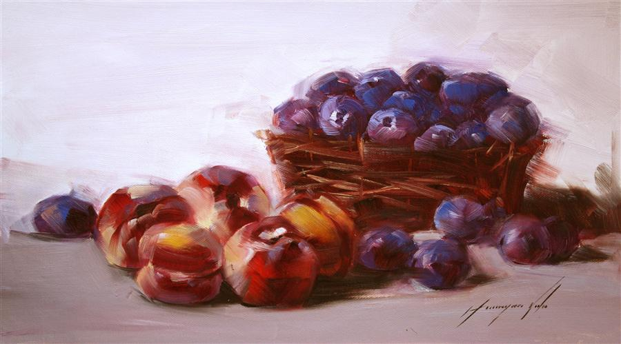 Original art for sale at UGallery.com | Still Life with Plums by VAHE YEREMYAN | $425 |  | 10' h x 18' w | ..\art\oil-painting-Still-Life-with-Plums