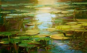 impressionism art,nature art,oil painting,Water Lilies Summer Pond