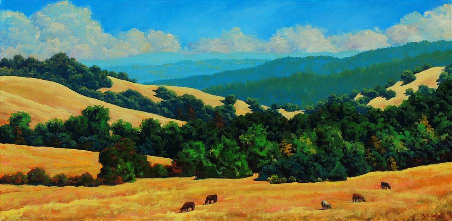 Original art for sale at UGallery.com | Nicasio Hills by STEVEN GUY BILODEAU | $3,350 |  | 24' h x 48' w | ..\art\oil-painting-Nicasio-Hills