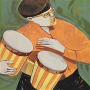 people art,oil painting,Musician's Bongo