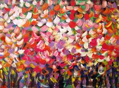 Abstract art,Flora art,acrylic painting,Blooming Trees