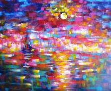 Abstract art,Seascape art,acrylic painting,Boat