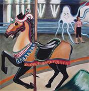 Animals art,Surrealism art,oil painting,Unicorn and Ghost
