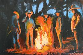 people art,western art,oil painting,Cowboy Campfire
