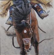 Animals art,Western art,oil painting,Rough Ride